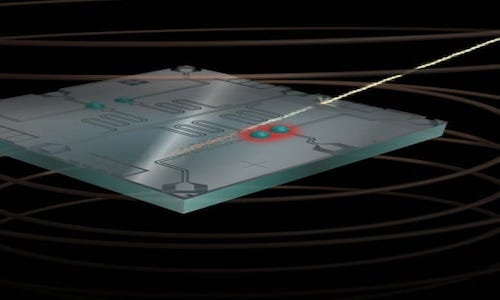 An artistic rendering showing what happens when a high-energy cosmic ray hits a qubit chip.